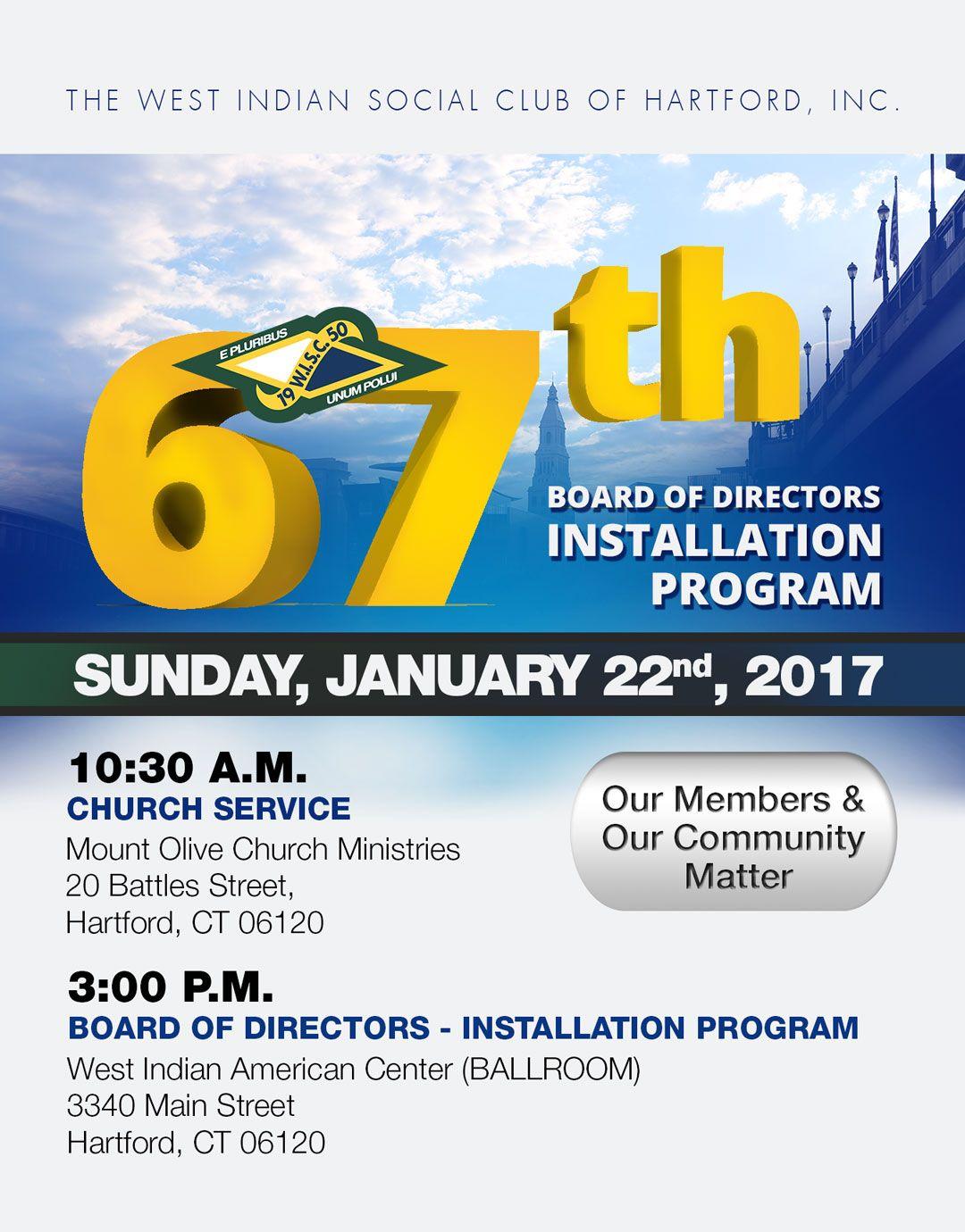 West Indian Social Club's - Board of Directors - Installation PROGRAM